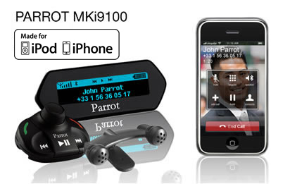 Car stereo with bluetooth phone kit parrot mki9200