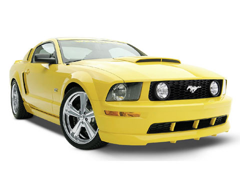 This is a 3DCarbon Yellow Mustang BodyKit