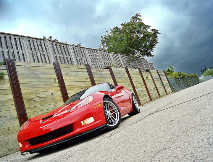 2007 Red Chevy Corvette Z06 ColorShift Halos, Tinited Windows, Kenwood 5190 Navigation Touch Screen Radio, K49 Radar Laser Jammer, Corsa Exhaust, Borla Headers – Mr Kustom Chicago