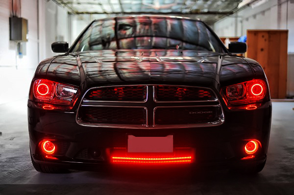 2012 dodge charger multi color colorshift halo kit headlights mr this 2012 dodge charger had a complete multi color colorshift halo kit added to it along with an led scanner bar to the bottom grille publicscrutiny
