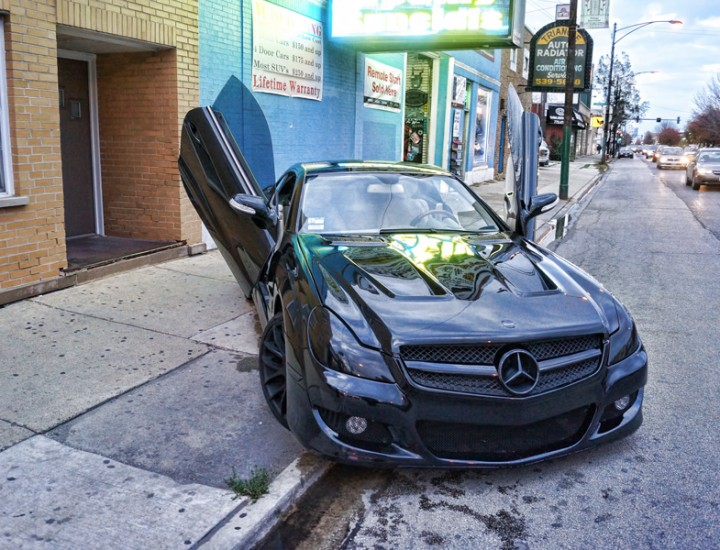 2008 Mercedes Benz SL500 Lambo Doors – Custom Black Mesh Grille – Body Kit – Smoked Headlights – Black Giovanna Rims