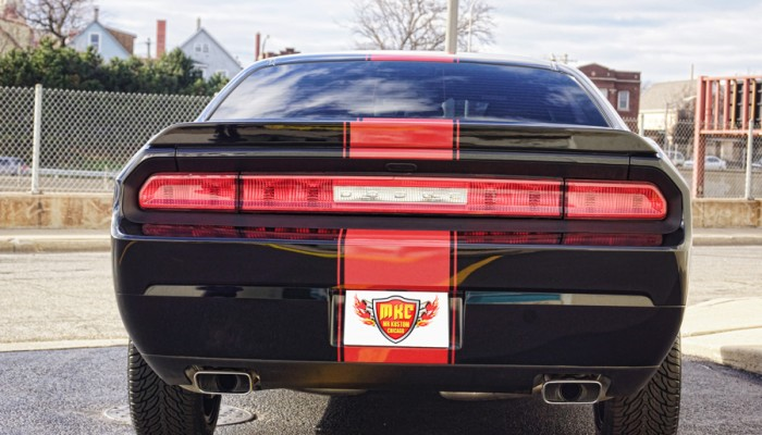 2013 Dodge Challenger Rear Red Racing Stripe