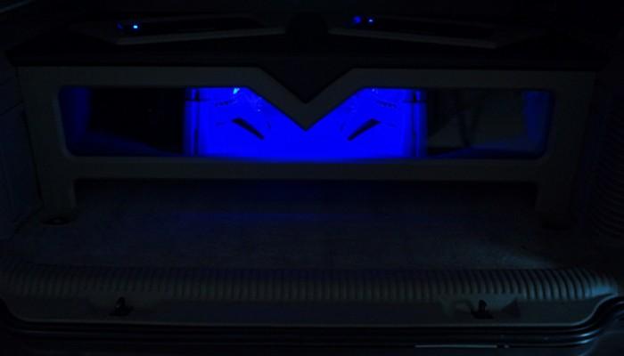 2004 Cadillac Escalade Custom Fosgate Sub Enclosure Box with Blue LED Lights