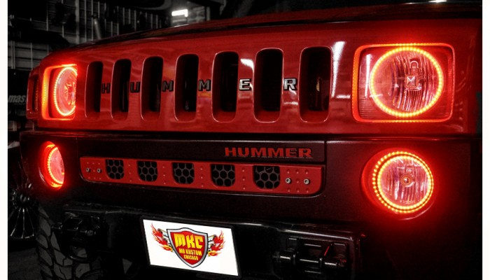 Hummer H3 Red Halo Lights