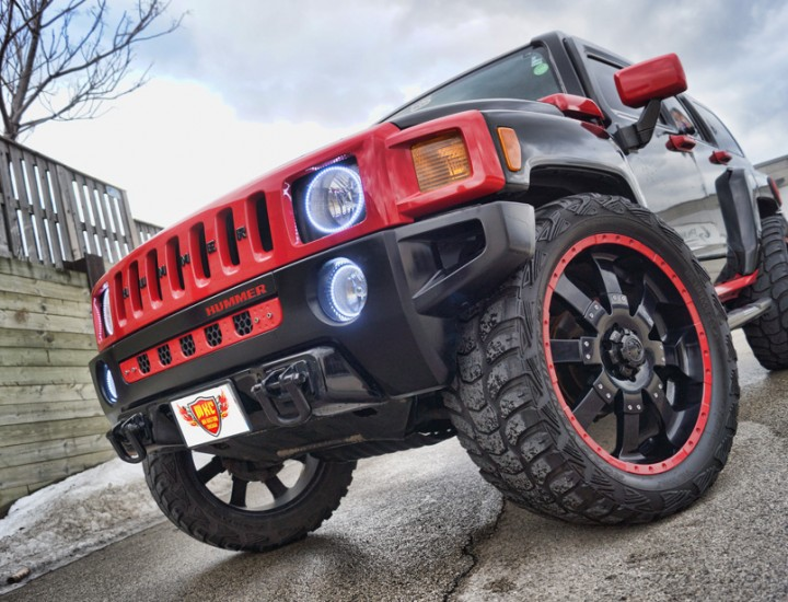 Red White Halos and Forgiato Logo Puddle Courtesy Door Lights Hummer H3