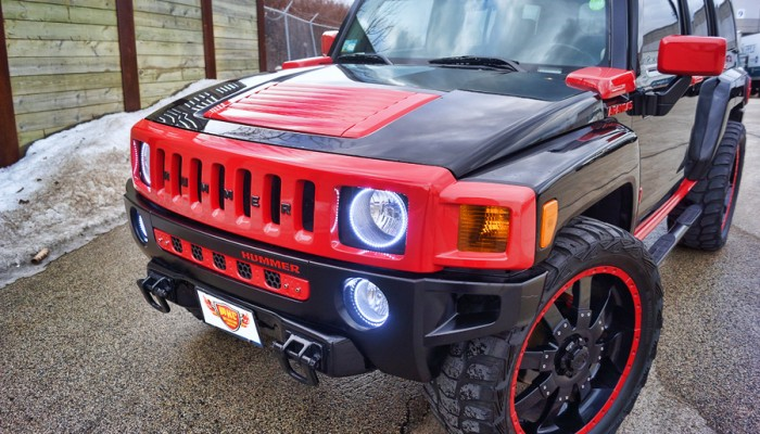 Hummer H3 White Oracle Halo Rings