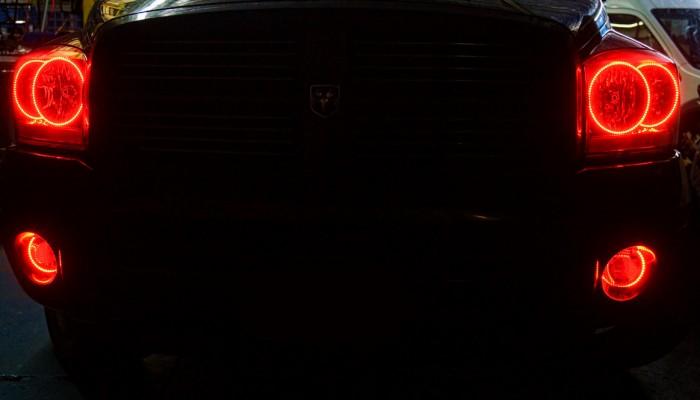 2006 Dodge Ram Red Oracle Halo Headlights