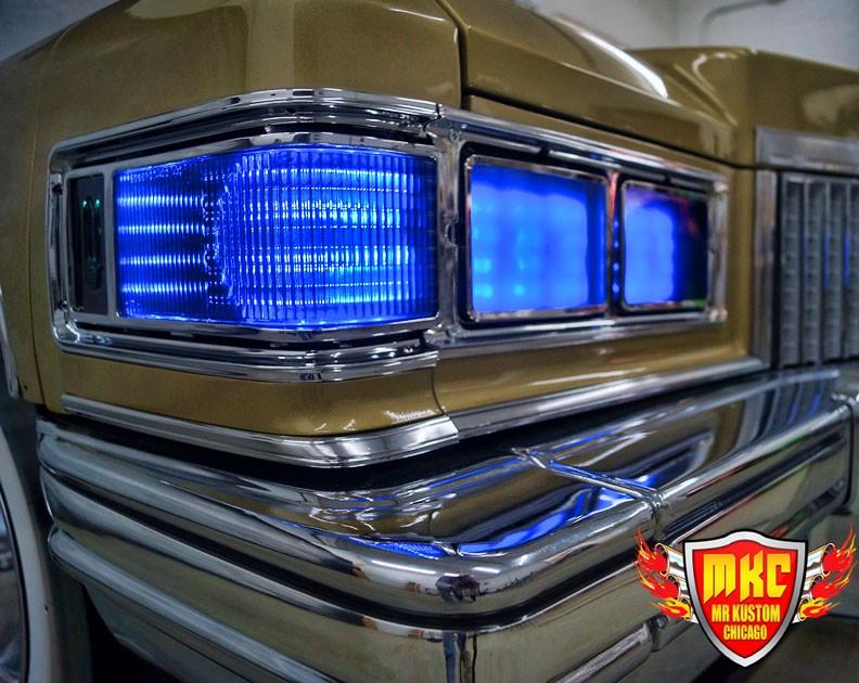 1975 Cadillac Deville Big Krit DJ Booth Blue Headlights