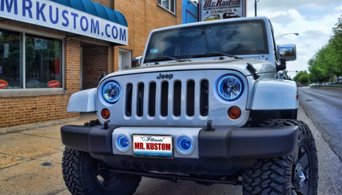 Jeep Wrangler Blue Halo Lights Headlights Fog Lights