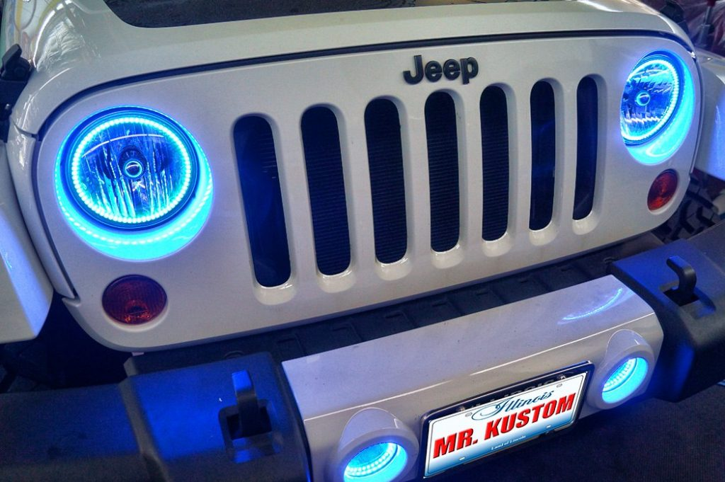 Blue Jeep Wrangler Halo Headlights