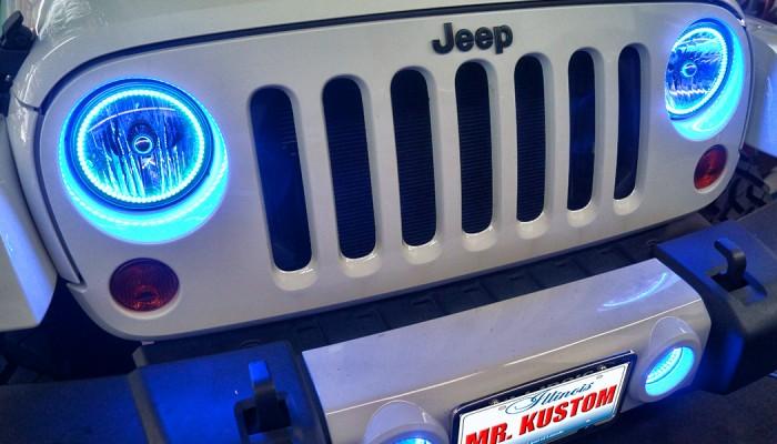 Blue Jeep Wrangler Halo Headlights