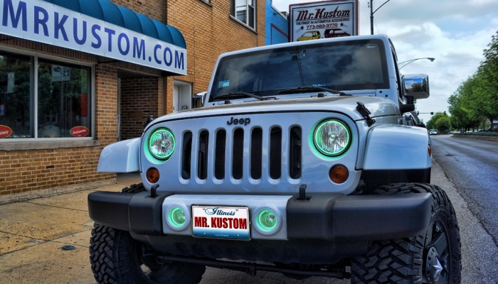 Jeep Wrangler Green Halos Headlights Fog Lights