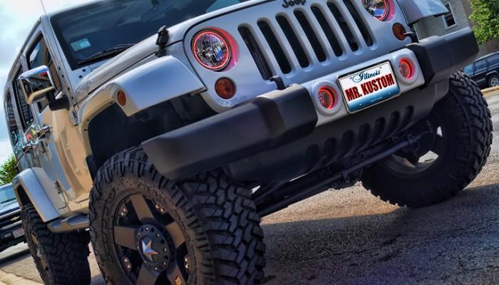 Red Halos Headlights Jeep Wrangler