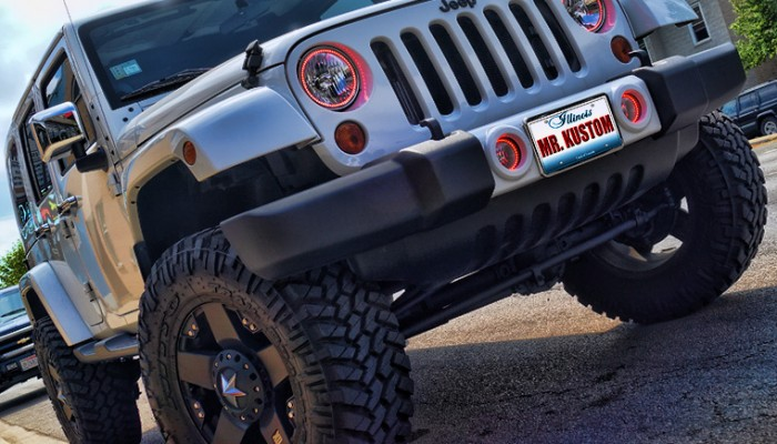 Red Halos Headlights Jeep Wrangler