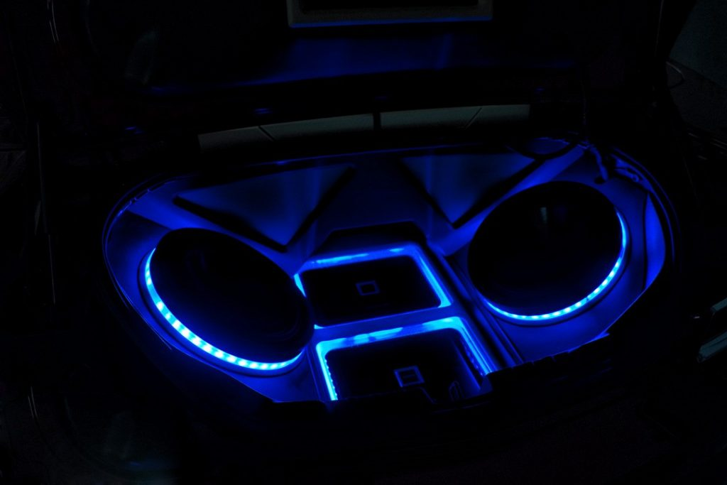 Alpine Custom Speaker Box Blue LED Lights