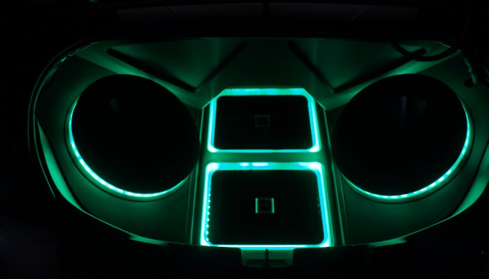 Alpine Custom Speaker Box Green LED Lights