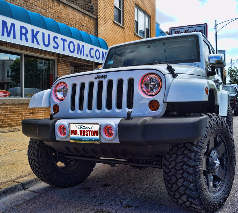 Custom Jeep Wrangler Red Halos Headlights