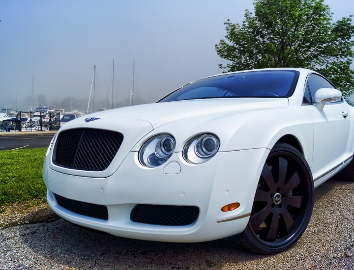 Bentley Continental Matte White Wrap – Black Powder Coated Forgiato Rims and Grilles