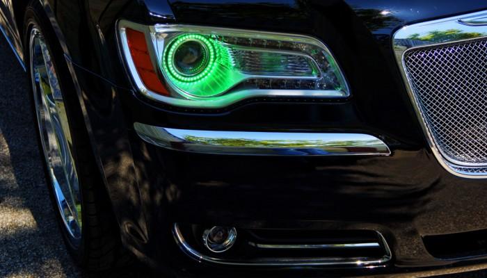 Chrysler 300 Green Halo Headlights Ring 2012