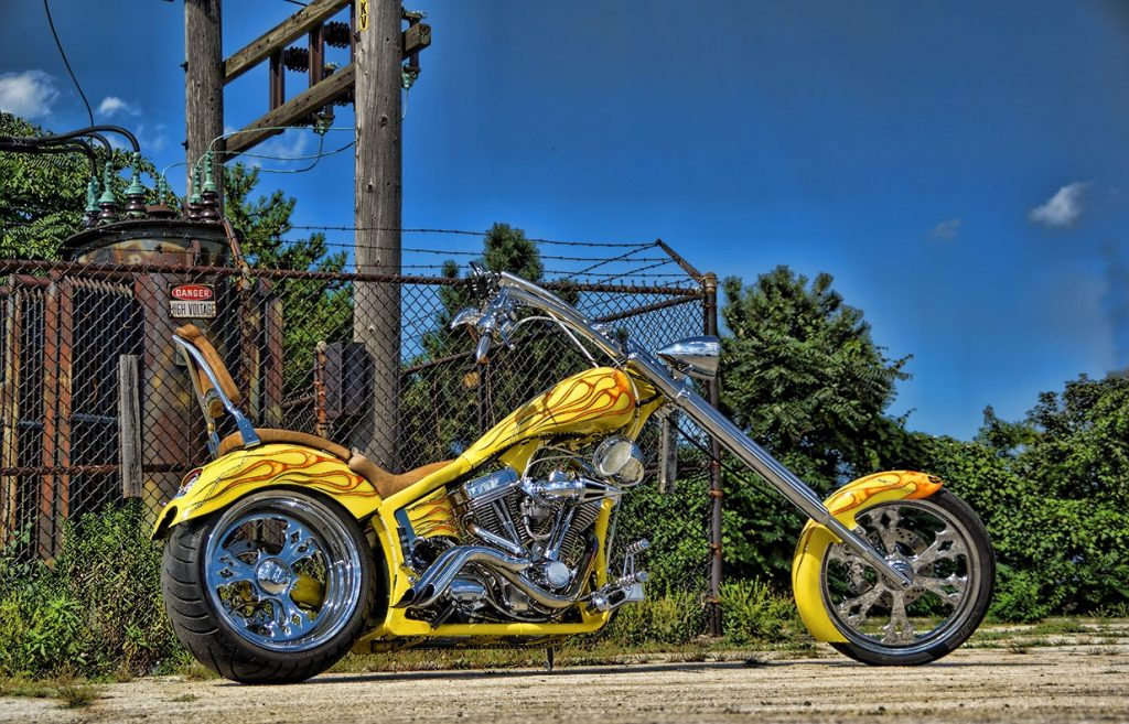 Yellow Chopper Custom Motorcycle