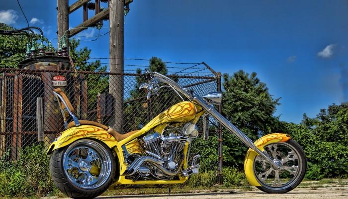 Yellow Chopper Custom Motorcycle
