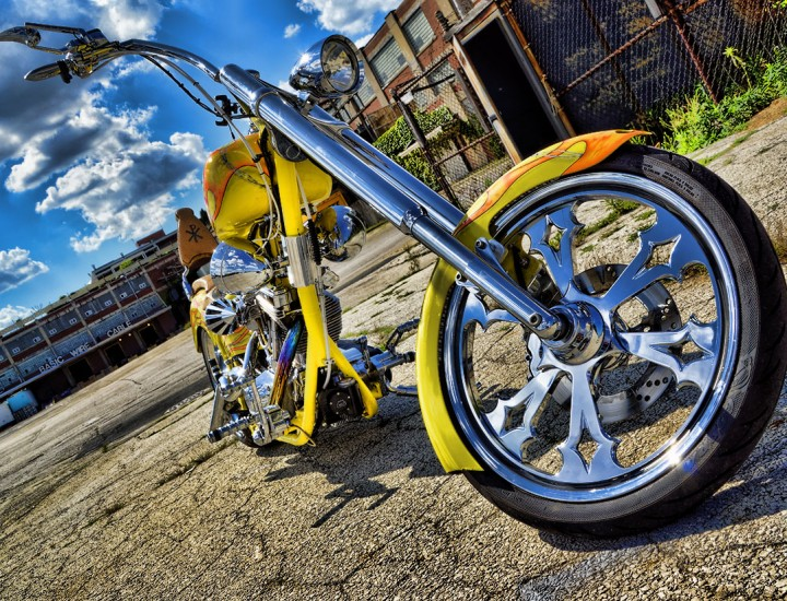 Custom Chopper Motorcycle (Yellow & Orange Flames)
