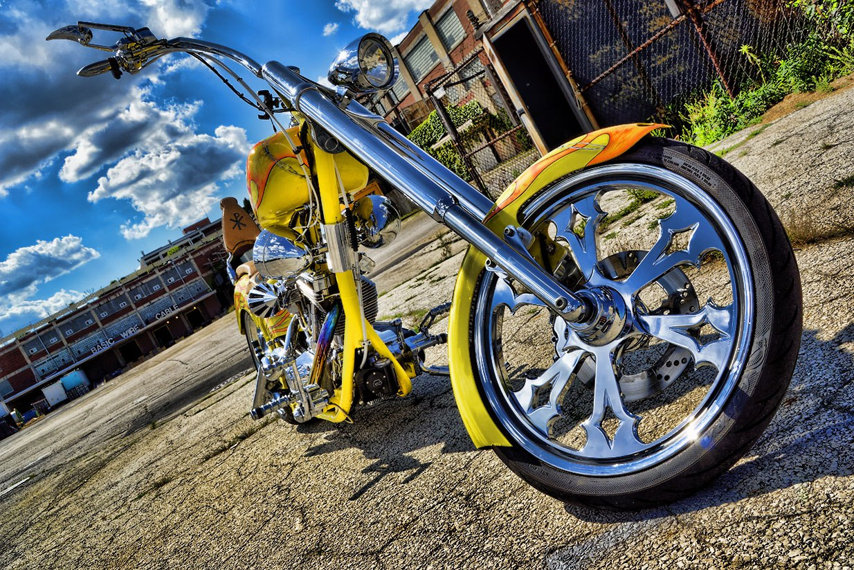 Custom Chopper Motorcycle Yellow Amp Orange Flames Mr