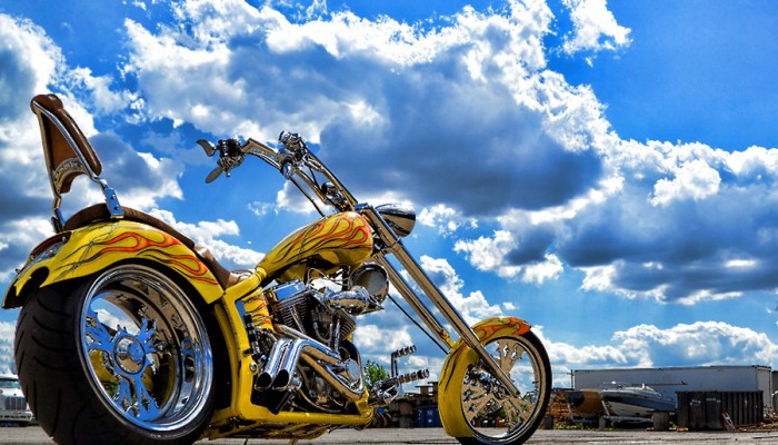 Custom Chopper Motorcycle Chrome Exhaust Pipes
