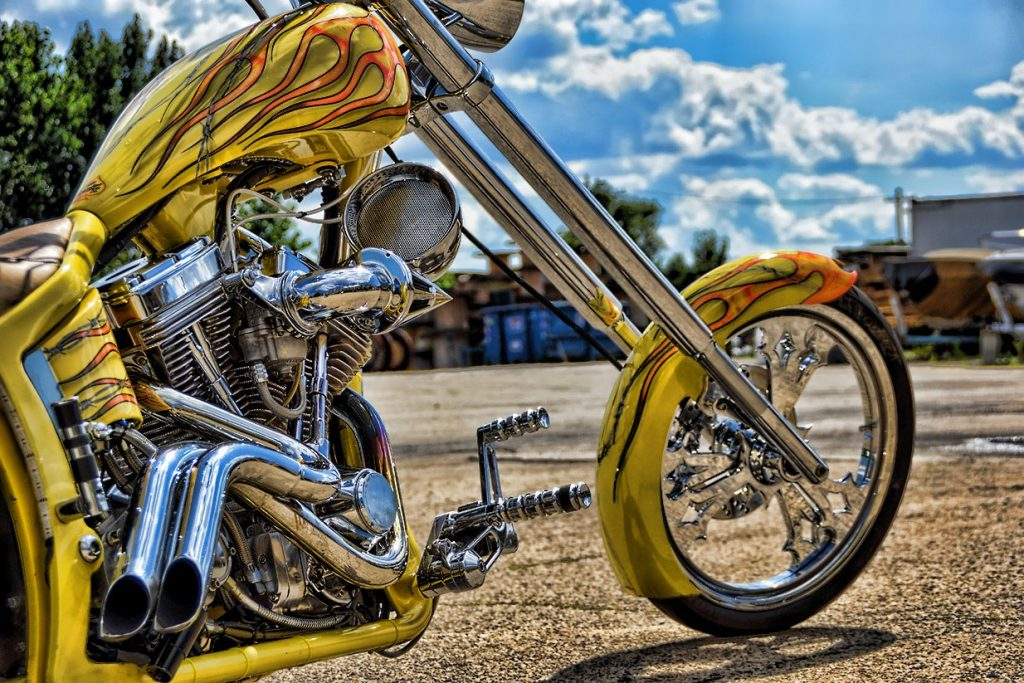 Custom Yellow Chopper Chrome