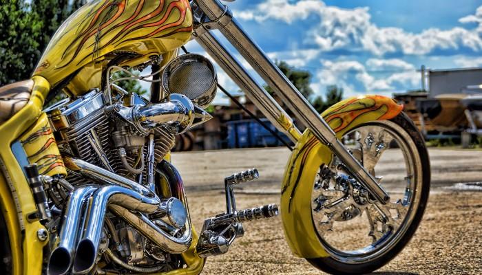 Custom Yellow Chopper Chrome