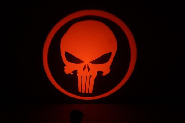 Punisher Skull LED Door Projector Courtesy Puddle Logo Light