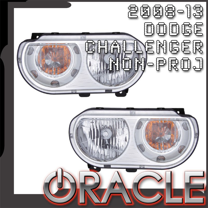 Dodge Challenger Non-Projector Depo Headlights with Oracle Halos  sc 1 st  Mr. Kustom & Dodge Challenger Non Projector Depo Headlights with Oracle Halos Installed