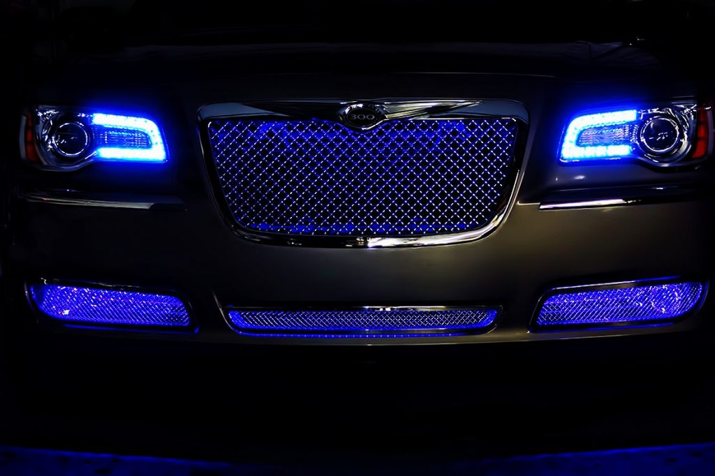 Blue Chrysler 300 Oracle Halo Headlights