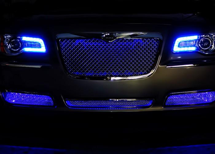 Blue Chrysler 300 Oracle Halo Headlights