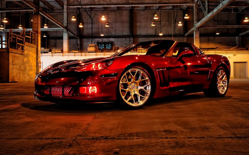 Oracle Red Corvette Halo Headlights and Fog Lights