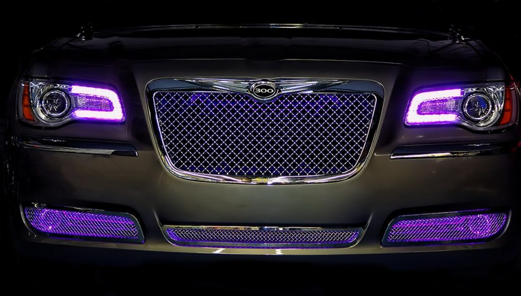 Purple Chrysler 300 Oracle Halo Headlights