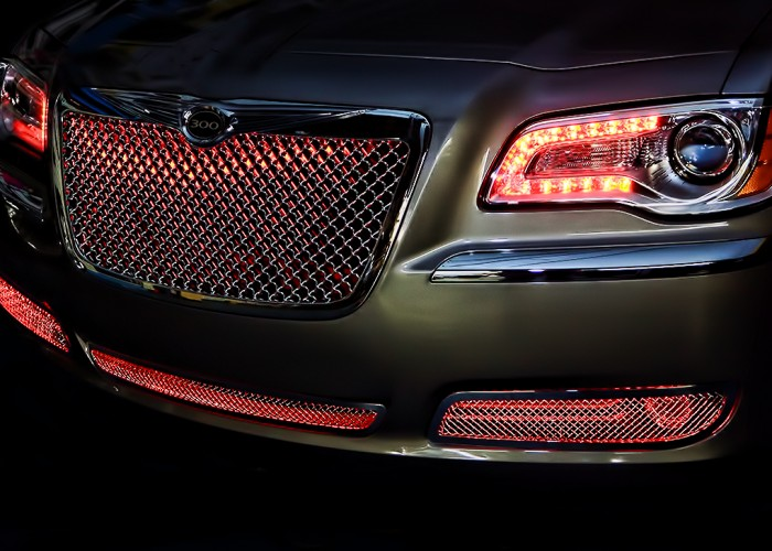 Red Chrysler 300 Oracle Halo Headlights