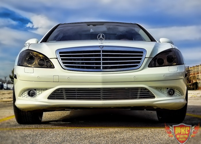 White Custom Mercedes Benz S550 Grille