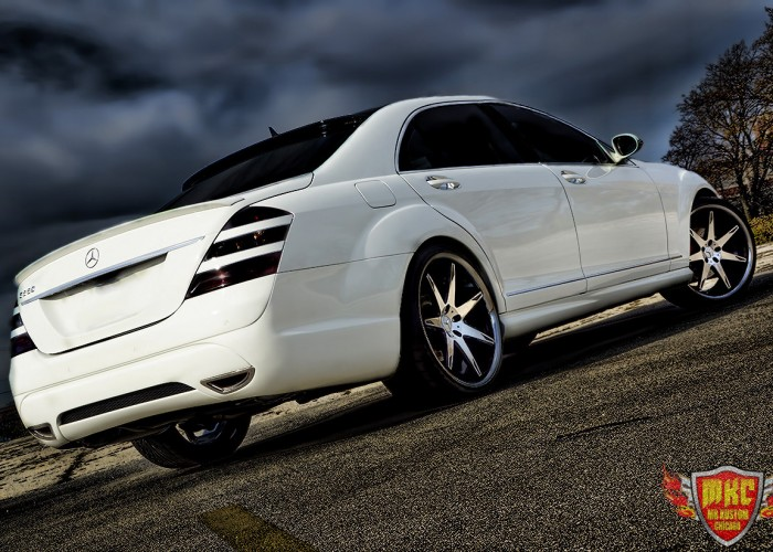 White Custom Mercedes Benz S550 Smoked Tail Lights