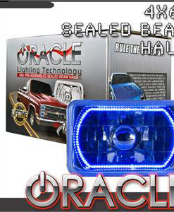 Pre-Installed Blue Halo Lights Sealed Beam 4x6