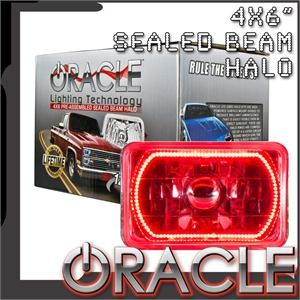 Pre-Installed Red Halo Lights Sealed Beam 4×6