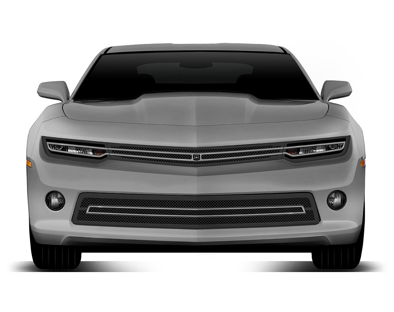 Phantom hidden headlight grille Lower bumper grille for 2014-2015 Chevrolet Camaro fits V8 models (Matte black finish)