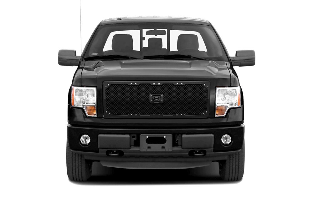 Sniper Truck Grille Primary Grille for 2009-2014 Ford F150 fits All Except For Custom Chrome Package/Harley Davidson Style Grilles models (Polished finish)