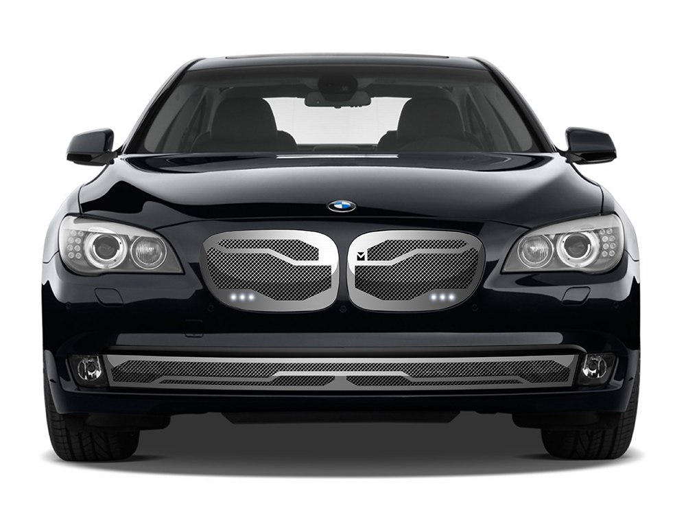 Macaro Lower bumper grille for 2006-2009 Bmw 750/760 fits 750/760 models (Triple Chrome finish)