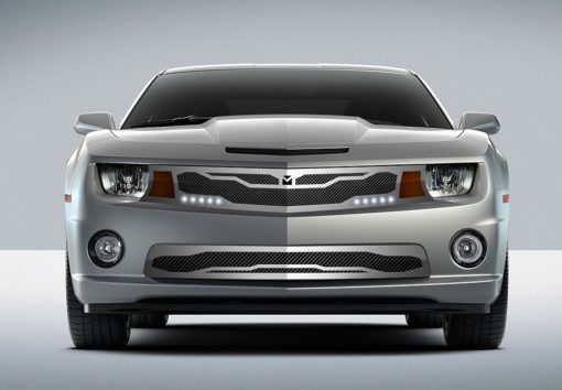 Macaro Lower bumper grille for 2010-2013 Chevrolet Camaro fits V6 models (Triple Chrome finish)
