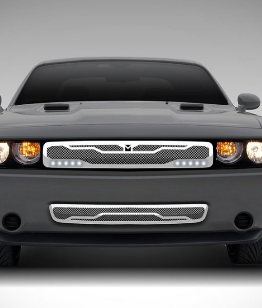 Macaro Lower bumper grille for 2011-2014 Dodge Challenger fits 2011-2014 models (Triple Chrome finish)