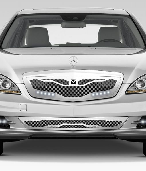 Macaro Lower bumper grille for 2007-2009 Mercedes Benz S550 fits All Except Amg Sport models (Triple Chrome finish)