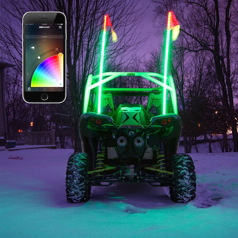 4 piece rock light set changing colors rgb bluetooth further 885 BMW LP530 3 5 LED Driving Light Kit additionally 2x Whip Xkchrome Advanced App Control Led Whip Light Kit 4x4 Offroad Utv Atv as well 2x Whip Xkchrome Advanced App Control Led Whip Light Kit 4x4 Offroad Utv Atv as well Ski Doo. on led light switch for atv