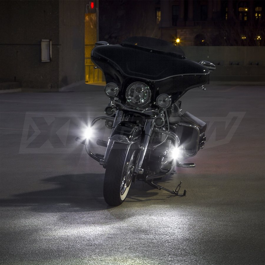 Led Lights For Motorcycles : Chrome motorcycle highway bar switchback driving lights