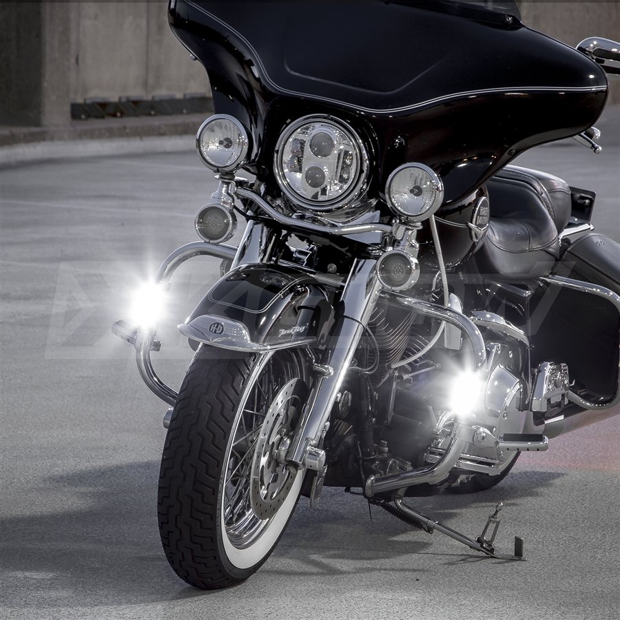 Chrome Motorcycle Highway Bar Switchback Driving Lights
